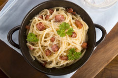 Pasta Carbonara with bacon and cheese Stock Images