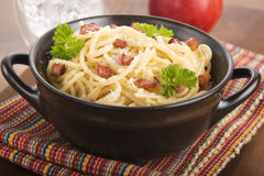 Pasta Carbonara with bacon and cheese Stock Photos
