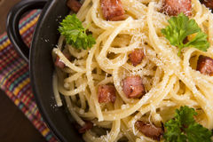 Pasta Carbonara with bacon and cheese Royalty Free Stock Photography