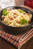Pasta Carbonara with bacon and cheese Stock Image