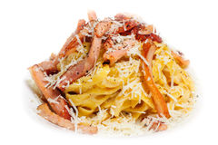 Pasta Carbonara with bacon and cheese Royalty Free Stock Image