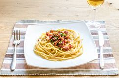 Pasta Carbonara with bacon and parmesan Stock Images