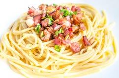 Pasta Carbonara with bacon and parmesan Stock Photos