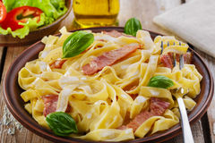Pasta carbonara. With bacon and sauce Royalty Free Stock Photography