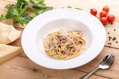 Pasta carbonara with bacon Royalty Free Stock Photos