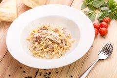 Pasta carbonara with bacon Stock Image