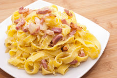 Pasta Carbonara with eggs bacon and parmesan Royalty Free Stock Photos