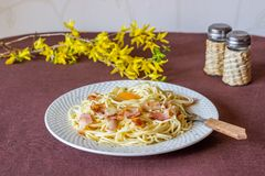 Pasta Carbonara. Flowers in the background. Italian food.  royalty free stock photos