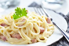 Pasta Carbonara with ham and cheese Stock Image