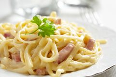 Pasta Carbonara with ham and cheese Royalty Free Stock Image