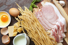 Pasta Carbonara Ingredients Top View Royalty Free Stock Photos