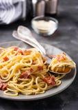 Pasta Carbonara med bacon och parmesan royaltyfri bild