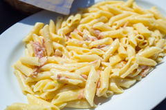 Pasta with carbonara Stock Photography