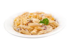 Pasta carbonara on plate Stock Images