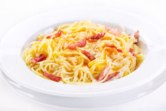 Pasta carbonara. A plate of pasta carbonara Stock Photos