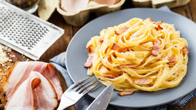 Pasta carbonara on a plate Royalty Free Stock Photography