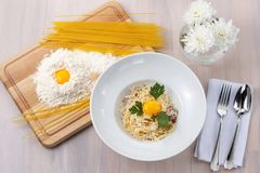 Pasta Carbonara on a plate royalty free stock images