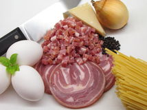 Pasta Carbonara's basic ingredients Stock Images
