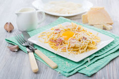 Pasta Carbonara. Spaghetti with bacon and parmesan cheese.  on white plate with parmesan Royalty Free Stock Photos
