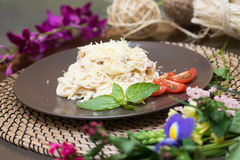 Pasta carbonara, traditional Italian cuisine. Cheese, sauce, cream Royalty Free Stock Photo