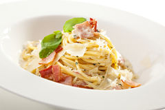 Pasta Carbonara. Traditional Carbonara Spaghetti with Meat and Cheese Stock Photos