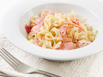 Pasta Carbonara. On a white plate Royalty Free Stock Photography