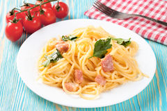 Pasta Carbonara in white plate. royalty free stock images