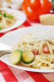 Pasta carbonara on the wooden table Stock Photos