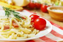Pasta carbonara on the wooden table Royalty Free Stock Image