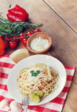 Pasta carbonara on the wooden table Stock Photo