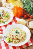 Pasta carbonara on the wooden table Stock Photography