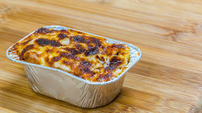 Pasta. Casserole with cheese and cream sauce Stock Photos