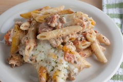 Pasta Casserole. Italian pasta casserole with meat, cheese, and homemade sauce Royalty Free Stock Photography