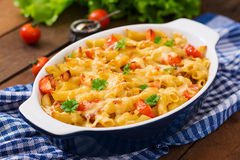 Pasta casserole, tomato, bacon Royalty Free Stock Images