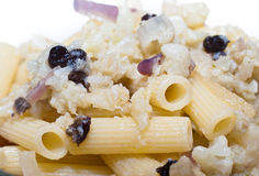 Pasta with cauliflower Stock Images