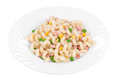 Pasta cavatappi with vegetables and sausage. Royalty Free Stock Images