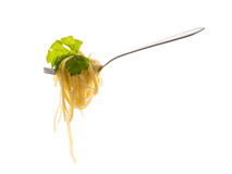Pasta with celery leaves Royalty Free Stock Images