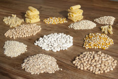 Pasta cereals and legumes. For a healthy mediterranean diet Royalty Free Stock Photo