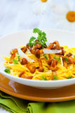 Pasta with chanterelles Royalty Free Stock Photography