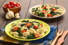 Pasta with Chard and Tomato Royalty Free Stock Images