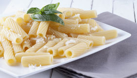 Pasta with cheese and basil Stock Image