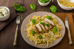 Pasta with cheese and chicken Royalty Free Stock Photos