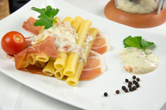 Pasta with cheese cream Royalty Free Stock Image