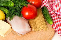 Pasta, cheese and fresh vegetables Royalty Free Stock Images