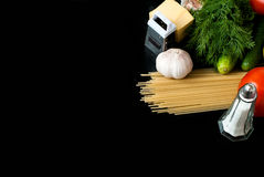 Pasta, cheese and fresh vegetables Royalty Free Stock Photography