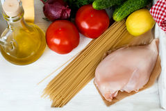 Pasta, cheese and fresh vegetables Stock Photo