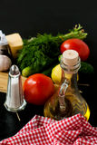 Pasta, cheese and fresh vegetables Royalty Free Stock Photo