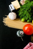 Pasta, cheese and fresh vegetables Stock Images