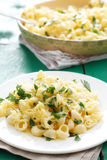 Pasta with cheese and lemon peel Stock Photo