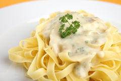 Pasta with cheese sauce Royalty Free Stock Photos